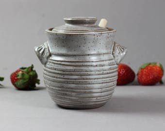 Ceramic Honey Pot - Honey Jar - Dark Stoneware - White Glaze - Thrown