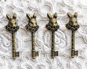 Reneabouquets Trinkets White Rabbit Keys 4  Pack~Alice In Wonderland, Scrapbook Embellishment, Craft Supply, Jewelry Charm