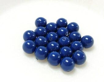 6mm Dark Lapis #5810 Round Swarovski Crystal Pearls - 20 pcs
