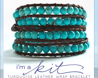 leather bracelet kit, wrap bracelet kit, turquoise wrap, leather wrap bracelet: DIY bracelet KIT,  bracelet tutorial, jewelry making kit