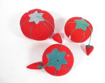 Set of 3 Vintage Tomato Pin Cushions - Sewing Pin Cushion Tomatoes
