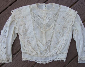 ivory EDWARDIAN SHIRTWAIST BLOUSE broderie anglaise lace xs
