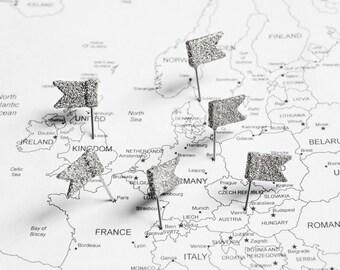 Silver Glitter Flag Map Pins. Wanderlust Home Office World Travel Map Push Pins, Teacher Gift, Weddings, Cork Board Decoration. Set of 10