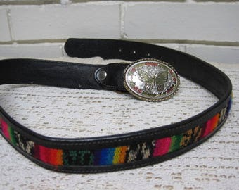90's Wide Black Leather Belt with Woven Insert & Butterfly Buckle sz 30