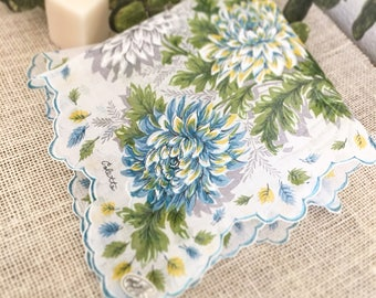 Something Blue Hanky, Wedding Handkerchief, Colette, Vintage, Blue Green Mums, Mother of the Bride, Bridesmaid, Bride, Farmhouse  16""