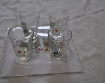 Vintage Set of 4 Shot Glasses with Playing Card / Dice Design and Free Blank Greetings Card and Envelope