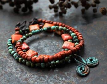 Double spiral bracelet, orange wrap bracelet, rustic triple bracelet, adjustable turquoise bracelet, bronze age amulet bracelet