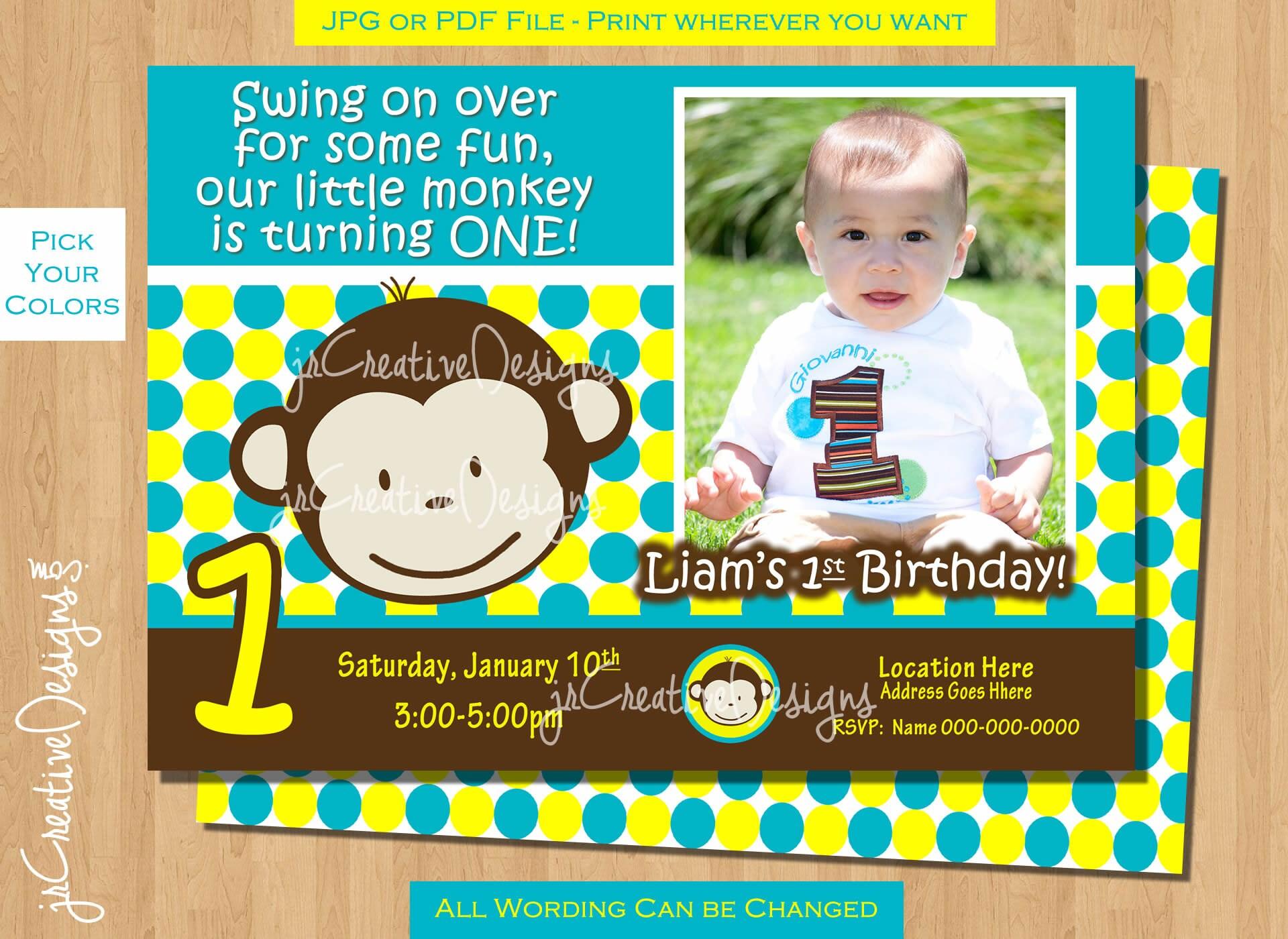 Monkey Birthday Invite Monkey Invitation Photo St Birthday - Birthday invitation text for 1 year old