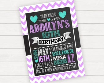 Girl Birthday Girl Invitation Birthday Invitation Printable Invitation Chevron Birthday Chalkboard Birthday Purple and Teal and Chalk