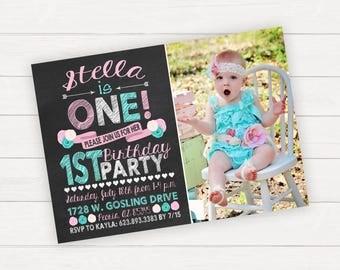 Girl First Birthday Flower Birthday Girl 1st Birthday Invitations Printable Invitation Chalkboard Birthday Photo Birthday Chalkboard Invite