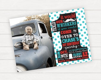 One Birthday Boy First Birthday Invitation Boy 1st Birthday Mustache Birthday Little Man Birthday Mustache Invitation Photo Birthday