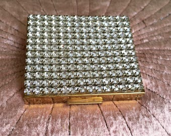 Vintage Rhinestone Powder Compact Jeweled Gold Compact 1950s Glamour