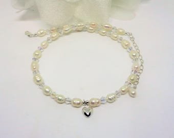 Girl's White Pearl Necklace Girls Crystal Necklace Flower Girl Necklace Silver Heart Necklace Sterling Silver Necklace BuyAny3+1 Free