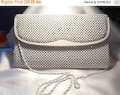 50% Off Sale Vintage Another Y & S Original Metallic White With Gold Tone Trim and Chain Strap Purse Handbag
