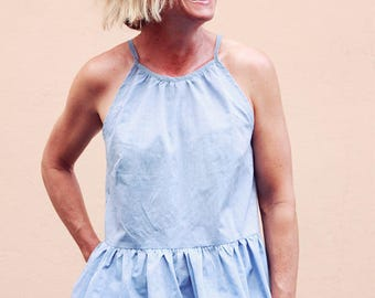 Halter neck swing top with ruffle PDF sewing pattern. Gypsy Swing Top