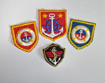 Anchor Patches Nautical Emblems LOT of 4 Different Red White Blue Sailing Boating Life Saver Ships Wheel Sew On Vintage 80s New Old Stock