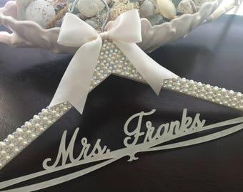 Bride Hanger, Bridal BLING Hanger, Bling Hanger, Rhinestone Wedding Hanger, Personalized Custom Name Hanger, Pearl Wedding Hanger,