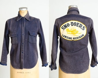 Vintage CPO Wool Flannel Sno-Doers Lansing Michigan Distressed Navy Blue Button Up Work Shirt