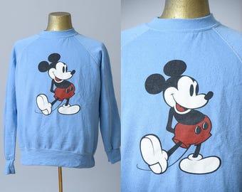 80s Mickey Mouse Sweatshirt Baby Blue Post Punk Hipster Sweatshirt