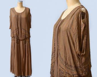 1920s Beaded Flapper Dress Heavy Hand Beaded Brown Silk Drop Waist Gatsby Dress Large