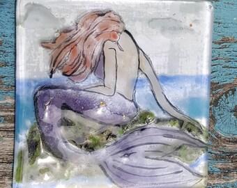 Mermaid wall hanging.  Hand Painted Mermaid. Fused Glass  SRAJD, GBUK, fhf