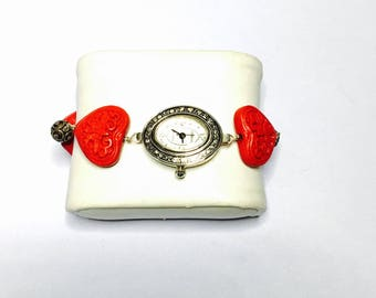 Vintage red heart Watch, silver wire wrapped, Collectors, Clearance Sale, Item No. B427