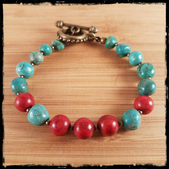 Bright Natural Turquoise and Red Coral Beaded Bracelet