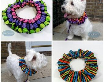 Party Time Spots or Stripes Dog Scrunchie Neck Ruffle, Pet Scrunchie Ruffle
