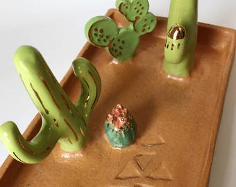 Large ceramic jewelry tray, Ceramic Cactus, saguaro, prickly pear & barrel cactus with 22k gold accents, jewelry display