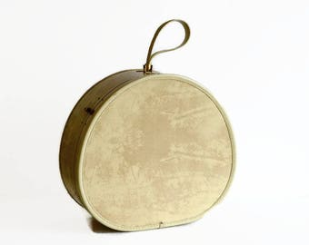 vintage Samsonite train case round suitcase hat box luggage with key marble beige 1950s