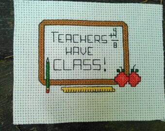 Teacher Cross Stitch Sampler
