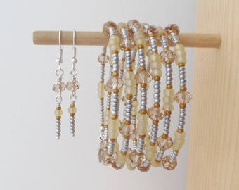 Brown Bangle, Topaz Crystal Memory Bracelet/Bangle, Light Topaz, Buttermilk, Silver Grey and Caramel Flexi Bracelet and earrings