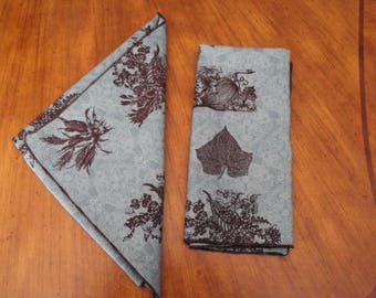 Fall napkins in aqua and brown, Thanksgiving napkins, dinner napkins