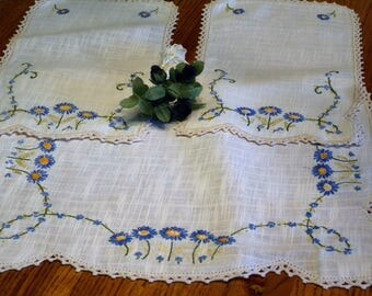 Vintage Hand Embroidered  ~ Vintage Couch Arm Covered  Chair Covers// Home Decor//