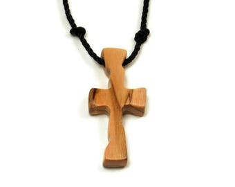 Mens Cross Jewelry, Holy Land Olive Wood, Cross Necklace Men, Bethlehem Olive Cross, Minimalist Cross Necklace, Mens Cross Necklace Pendant