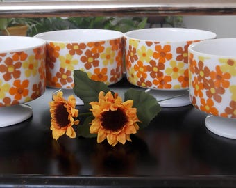 Vintage 1970's Dessert Bowls Ceramic Dessert Cups with Orange and Yellow and Brown Flowers