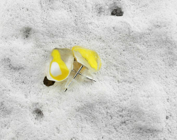 Sea Glass Yellow Modern Stud Earrings. 925 Sterling Silver Handmade by SEASTYLE