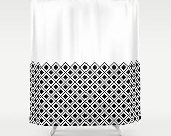36 colours, Diamond Half Pattern Shower Curtain, minimalist geometric bathroom curtain, Scandi decor, Nordic style, modern rustic decor