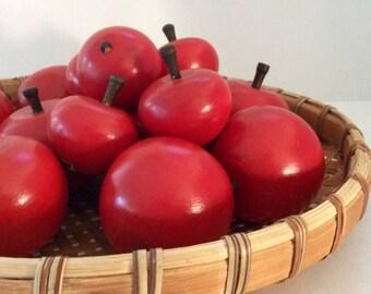 Wooden Fruit - Swedish Decor - red apples - Vintage Scandinavian - Cornucopia - Centerpiece - Apple Decor - hostess gift - holiday decor