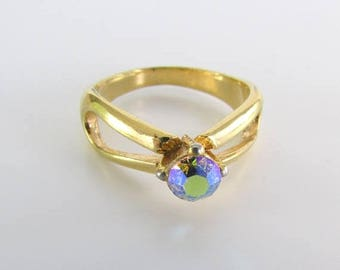 SALE Aurora Borealis Crystal Ring - Vintage 1970s Gold Cocktail Ring Size 7