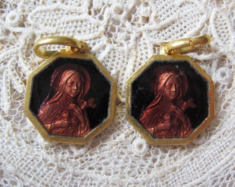 Vintage Pair - 'Chocolate' Brown Enamel St Therese  (Teresa) Gold Plated Medal M954