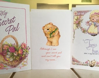 """Vintage 90's  """"SECRET PAL""""  Lot of 3 Greeting Cards - Includes the Reveal Greeting Card"""