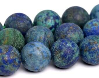 "8MM Matte Azurite Beads Grade AAA Natural Gemstone Full Strand Round Loose Beads 15"" BULK LOT 1,3,5,10 and 50 (101261-887)"