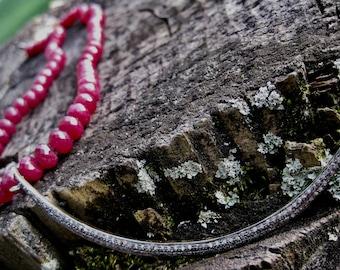 SALINA  Ruby & Pave Diamond Crescent Moon Pendant Necklace