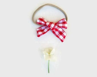 Red Gingham Baby Girl Bow Headband