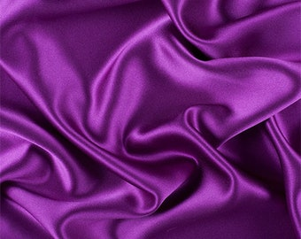 Grape Silk Crepe Back Satin, Fabric By The Yard