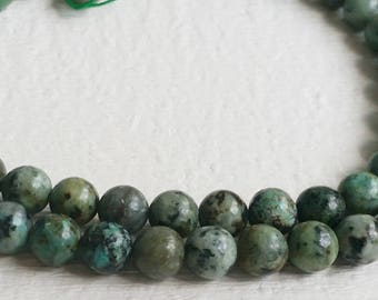 6  / 8 mm  Forest green African Turquoise  Natural Turquoise Beads (.tc .sn)