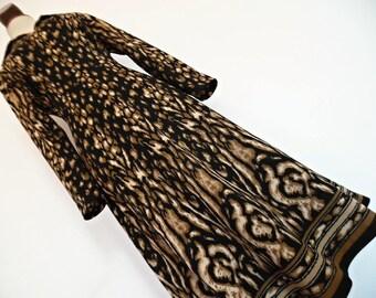 SALE :)) THE CAT iN U . Gorgeous Leopard Spots Animal Print . Midi Dress 70s M Cheetah Ocelot