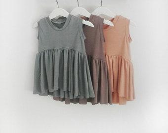 Girls ruffle taupe tan brown pink blush peach sage green baby toddler modern high lo long sleeve short sleeveless  0-3 months- 7 girls