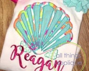Seashell 1 Applique Design (#960) - BEAN Stitch - Machine Embroidery Design - 4 Sizes - INSTANT DOWNLOAD